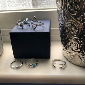 💎Set of 5 silver ring bundle💎